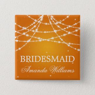 Bridesmaid Favor Sparkling String Orange Button