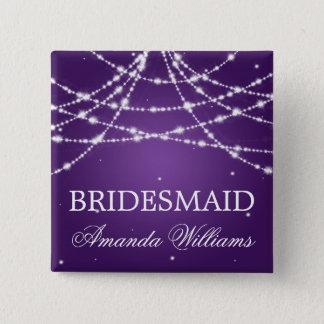 Bridesmaid Favor Sparkling String Purple Pinback Button