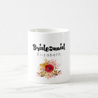Bridesmaid -  Floral Watercolor Bouquet Wedding Coffee Mug