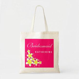 Bridesmaid Frangipani Floral Budget Tote Bag