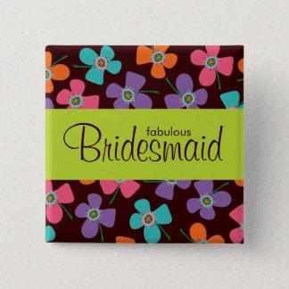 BRIDESMAID Fun Colorful Daisy Pop Wedding Button
