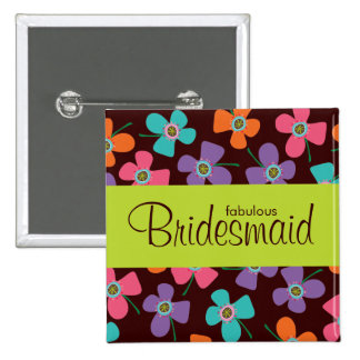 BRIDESMAID Fun Colorful Daisy Pop Wedding Button