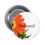 Bridesmaid: Gerbera Daisy in Tangerine Pinback Buttons