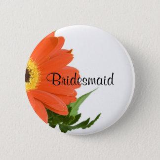 Bridesmaid: Gerbera Daisy in Tangerine Pinback Button
