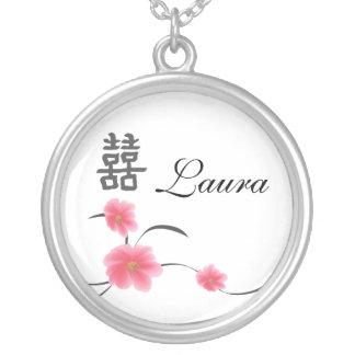 Bridesmaid Gift Cherry Blossom Double Happiness Custom Jewelry