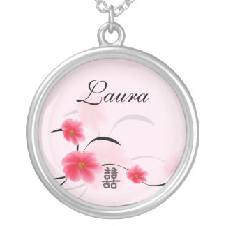 Bridesmaid Gift Pink Blossom Double Happiness Personalized Necklace