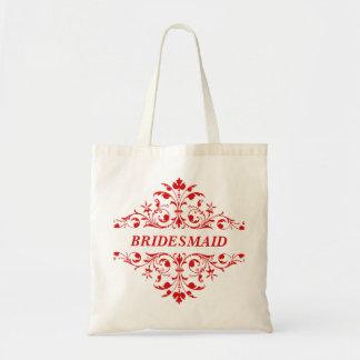 BRIDESMAID Girl Red Wedding Tote Bag