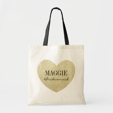 Valentines Themed Bridesmaid Glitter heart-Print personalize Tote Bag