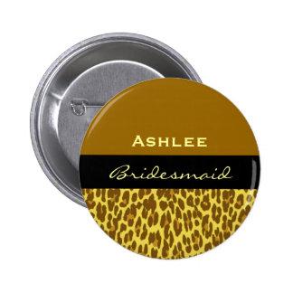 Bridesmaid Gold Black Leopard V09D Pinback Button