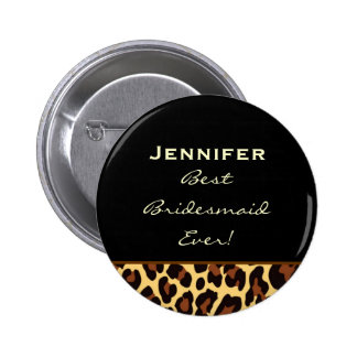 Bridesmaid Gold Leopard Custom Name Pinback Button