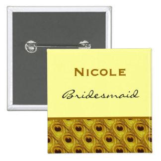 Bridesmaid Gold Peacock Custom Name Wedding Pin