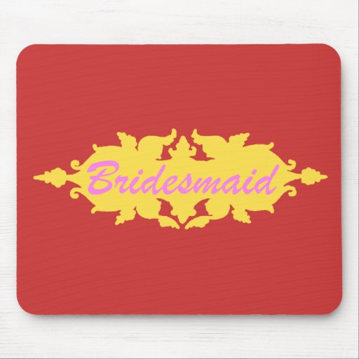 Bridesmaid Golden Yellow Vintage Style Banner Mouse Pad
