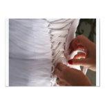 Bridesmaid hand lacing wedding dress photograph custom invites