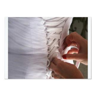 Bridesmaid hand lacing wedding dress photograph 5x7 paper invitation card