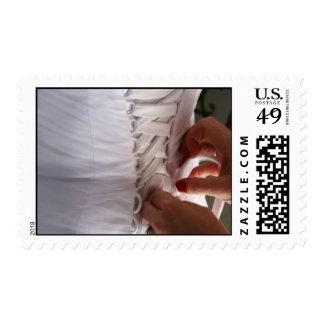 Bridesmaid hand lacing wedding dress photograph stamp