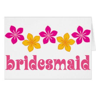 Bridesmaid Hawaiian Tropical Flowers Wedding Greeting Card