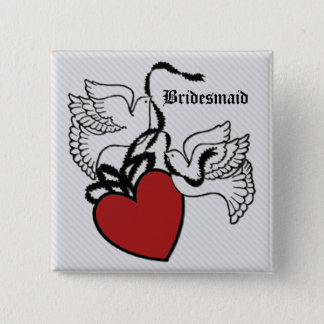 Bridesmaid Heart Doves Button