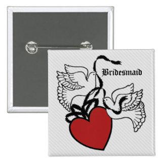 Bridesmaid Heart Doves Button