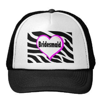 Bridesmaid (Heart Zebra Stripes) Mesh Hat