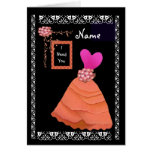 BRIDESMAID Inviation HOT PINK & ORANGE Frilly Gown Greeting Card
