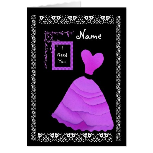 BRIDESMAID Inviation PURPLE Frilly Gown Greeting Cards