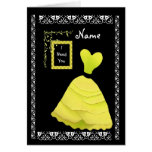 BRIDESMAID Inviation YELLOW Frilly Gown Card