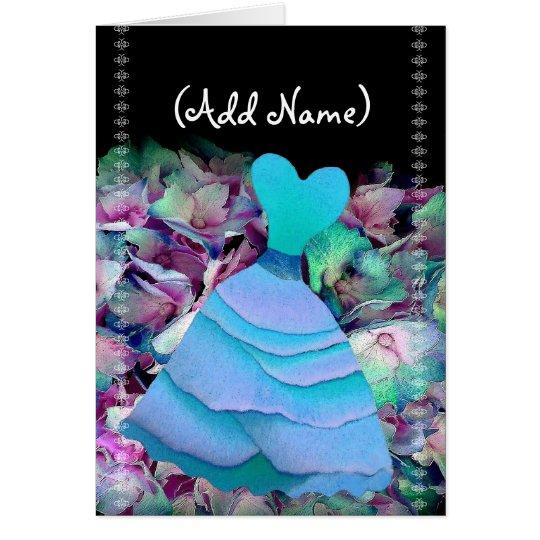 Bridesmaid Invitation BLUE Gown on Flower Cloud
