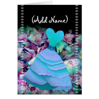 Bridesmaid Invitation BLUE Gown on Flower Cloud Cards