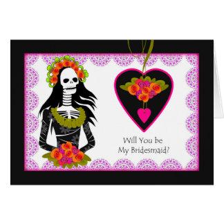 Bridesmaid Invitation, Dia de los Muertos Wedding Card