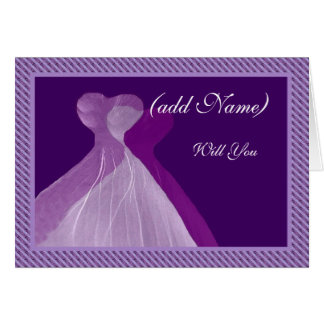 Bridesmaid Invitation Double Violet & Purple Gowns Cards