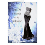 Bridesmaid  Invitation Gown Dress + Flowers Greeting Cards