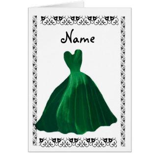 BRIDESMAID Invitation - HUNTER GREEN Leaf Gown Card