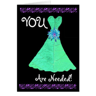 BRIDESMAID Invitation MINT GREEN Gown Greeting Card