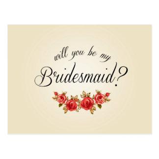 Bridesmaid Invitation Postcard
