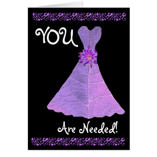 BRIDESMAID Invitation PURPLE Gown Greeting Card