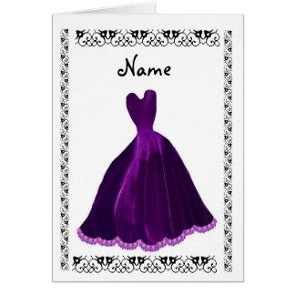 BRIDESMAID Invitation - PURPLE Velvet Gown Greeting Card