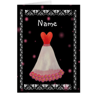 BRIDESMAID Invitation - Red White & Yellow Gown Card