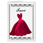 BRIDESMAID Invitation - ROSE RED Velvet Gown Greeting Card