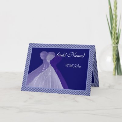 Bridesmaid Invitation Royal Blue Violet Gowns Cards by JaclinArt