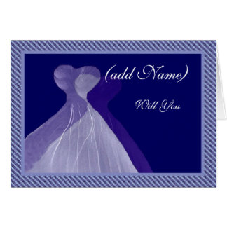 Bridesmaid Invitation - Royal Blue & Violet Gowns Cards