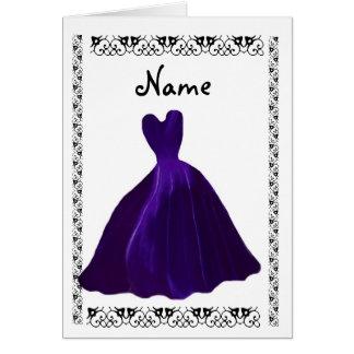BRIDESMAID Invitation - ROYAL PURPLE Leaf Gown Card