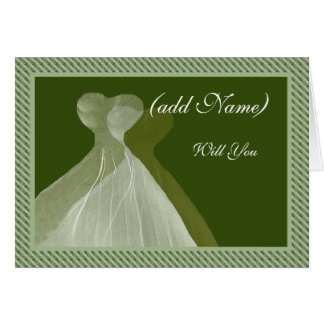 Bridesmaid Invitation - Sage & Olive Green Gowns Card