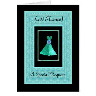 BRIDESMAID Invite TEAL GREEN Dress TURQUOISE Trim Card
