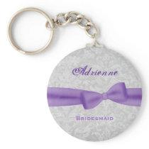 Bridesmaid Lavender Purple Bow Silver Damask E006 Keychain