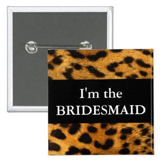 Bridesmaid Leopard Print Wedding Button