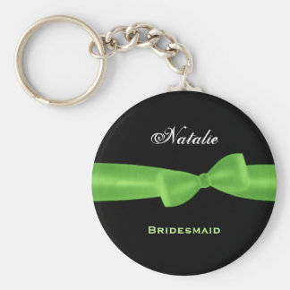 Bridesmaid Lime Green Bow Black Background E021 Keychain