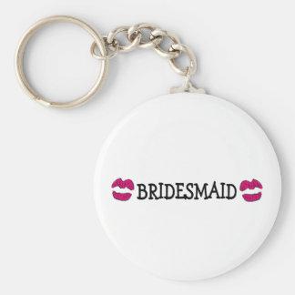Bridesmaid (Lips Kiss) Basic Round Button Keychain