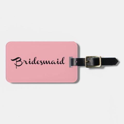 Bridesmaid Luggage Tag Black on Pink