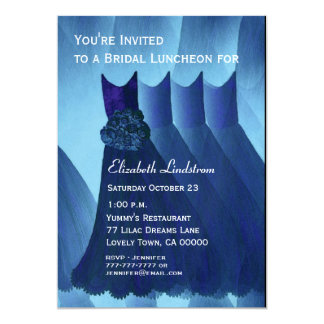 Bridesmaid Luncheon Brunch Blue Dresses Metallic Card