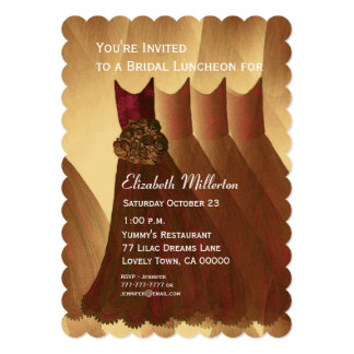 Bridesmaid Luncheon Brunch Gold Dresses V12 Invitations